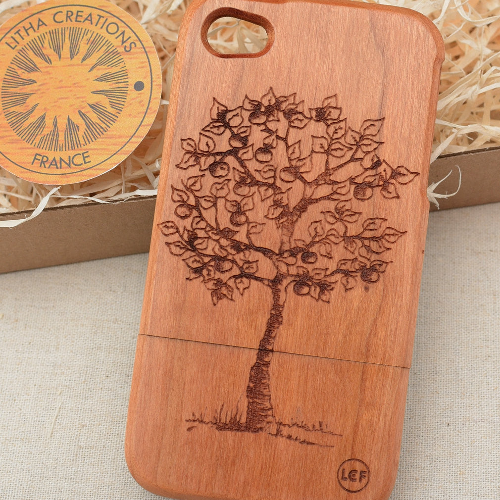 Nature Custom Design APPLE TREE Natural Wood Phone Case