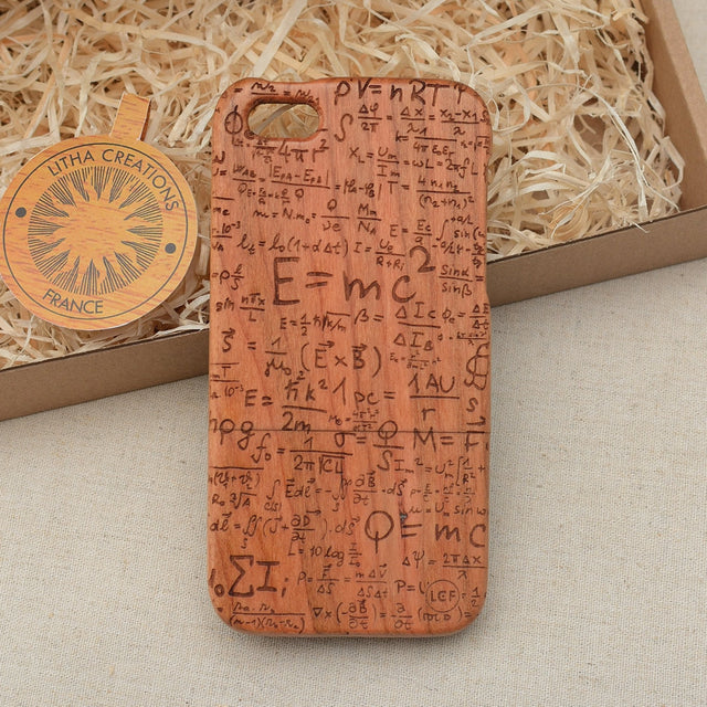 Science Custom Design E=mc2 Natural Wood Phone Case