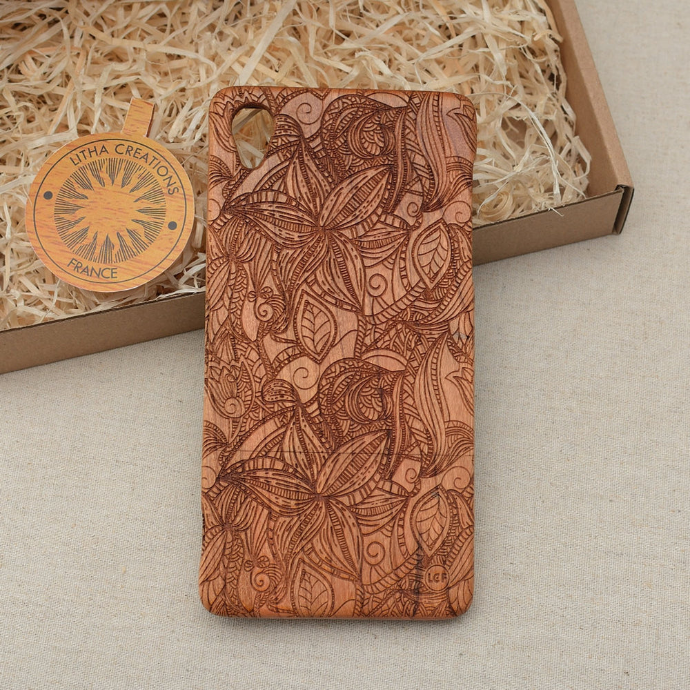 Psychedelic Custom Design MY GARDEN Natural Wood Phone Case - litha-creations-france