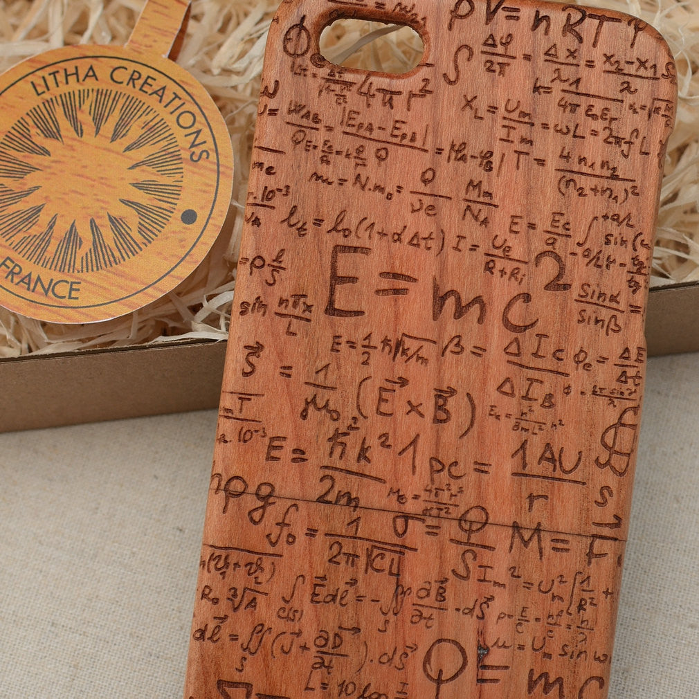 Science Custom Design Emc2 Natural Wood Phone Case