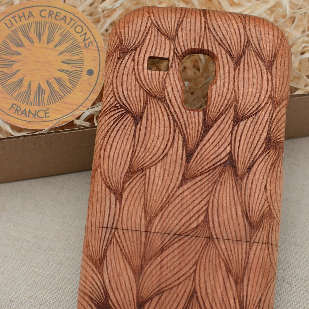 Psychedelic Custom Design BRAID Natural Wood Phone Case