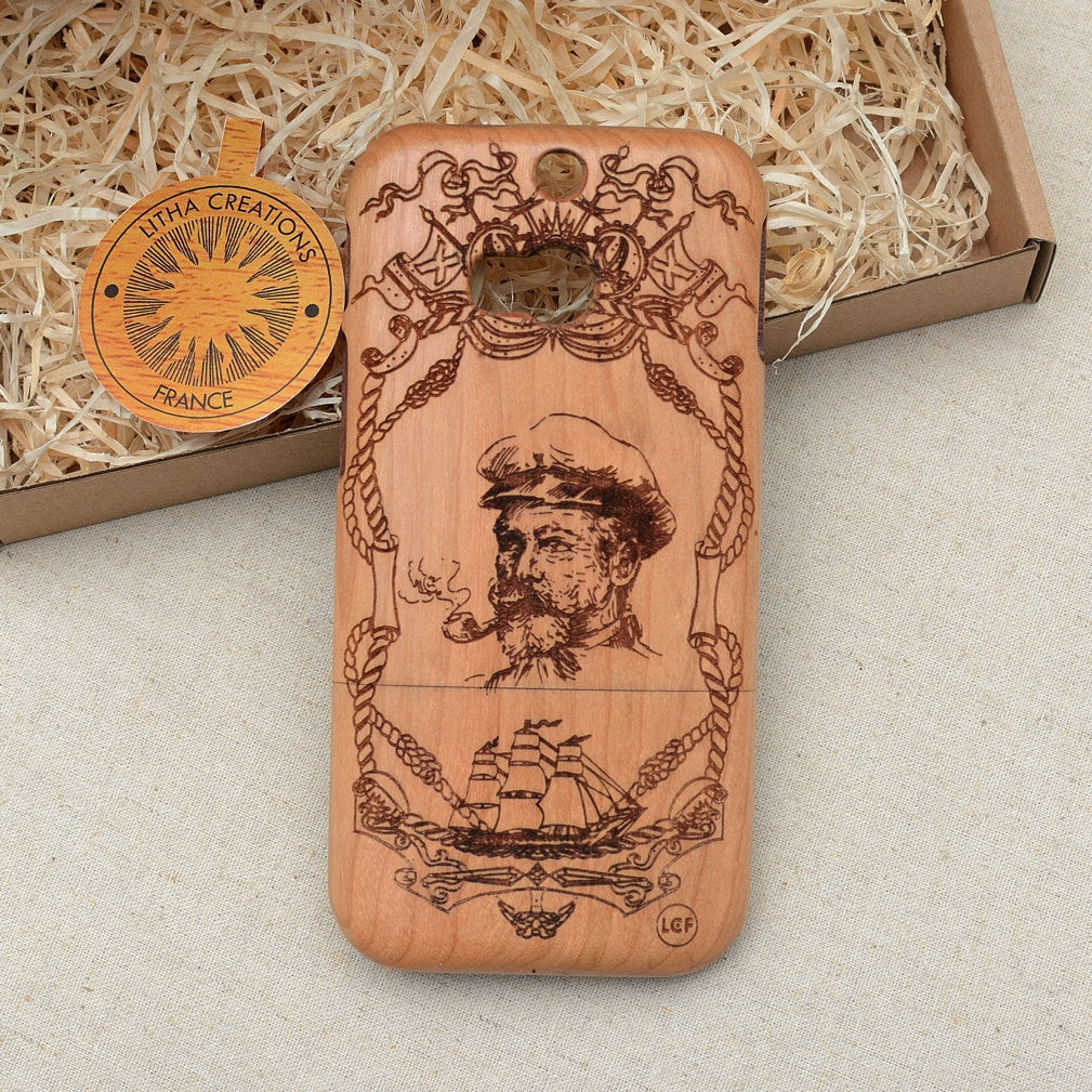 Sailing Custom Design CAPTAIN Natural Wood Phone Case
