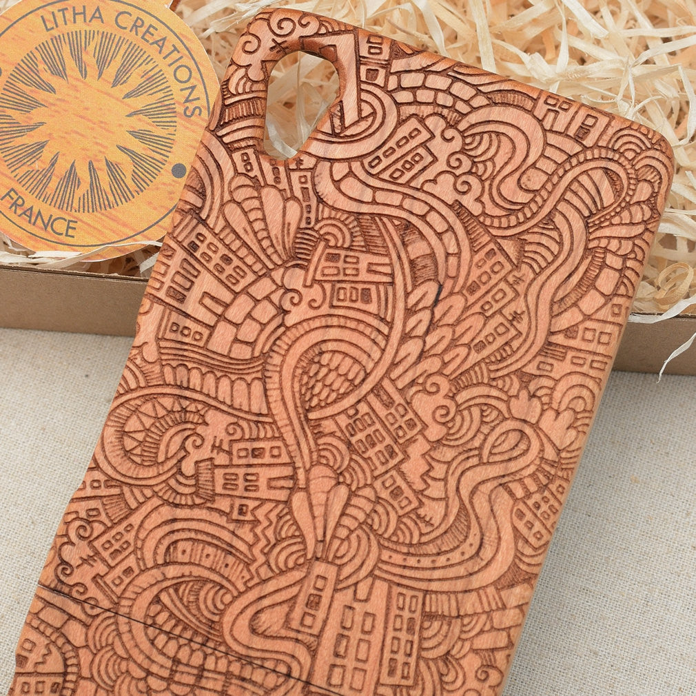 Psychedelic Custom Design CITY LOVE Natural Wood Phone Case