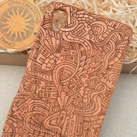 Psychedelic Custom Design CITY LOVE Natural Wood Phone Case - litha-creations-france