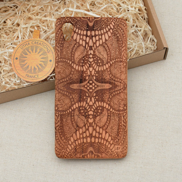 Psychedelic Custom Design TRIP Natural Wood Phone Case