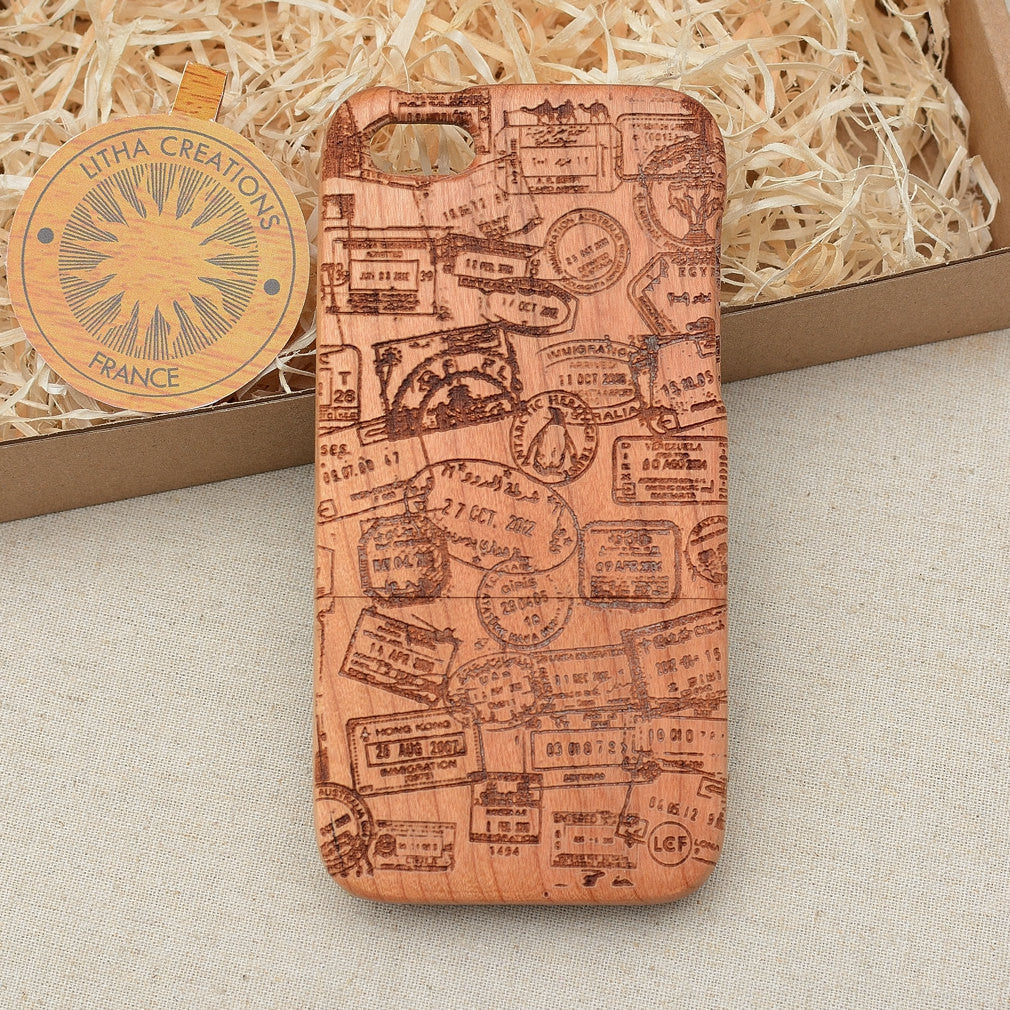 Vintage Style Custom Design ''Travel stamps'' Natural Cherry Wood Phone Case