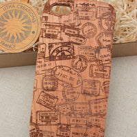 Vintage Style Custom Design ''Travel stamps'' Natural Cherry Wood Phone Case - litha-creations-france