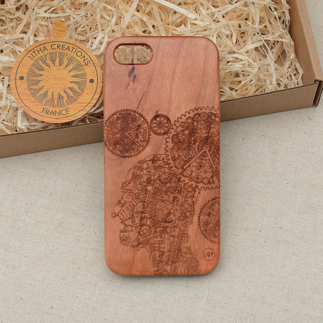 Science Custom Design TRANSHUMAN Natural Wood Phone Case