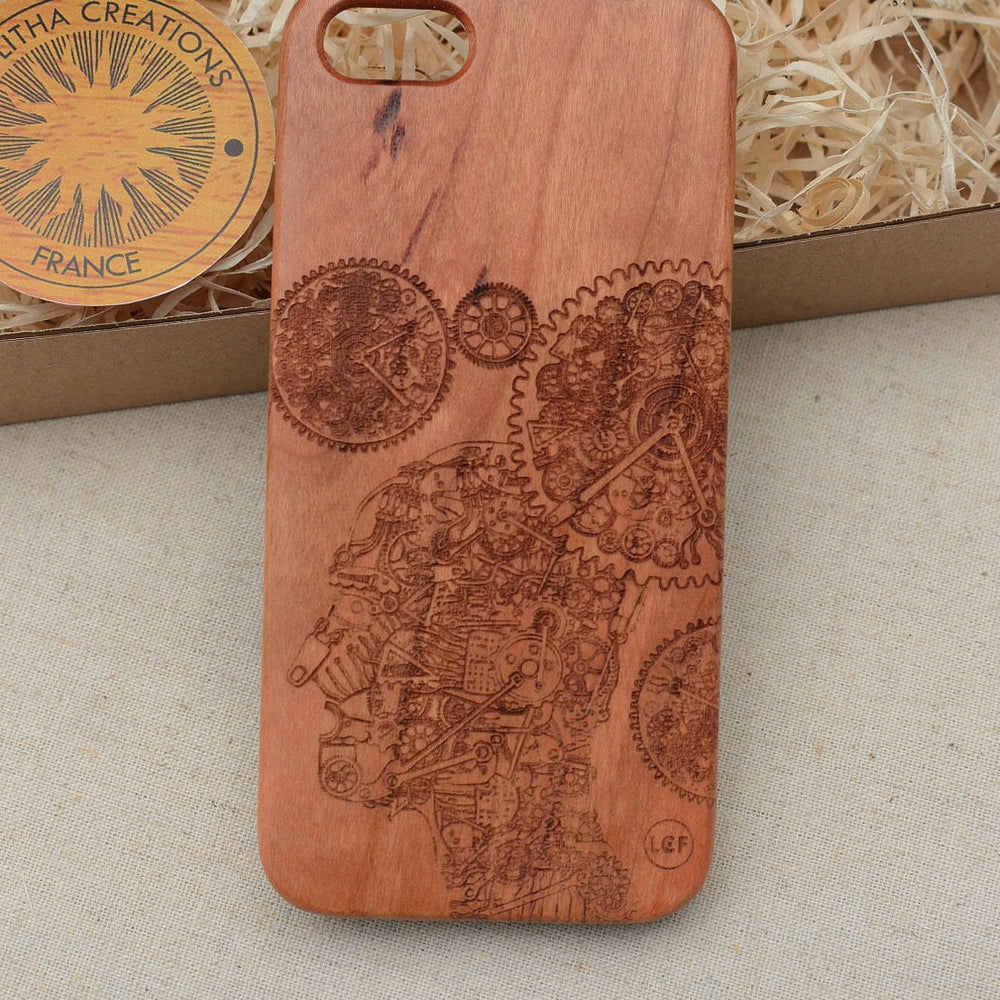 Science Custom Design TRANSHUMAN Natural Wood Phone Case - litha-creations-france