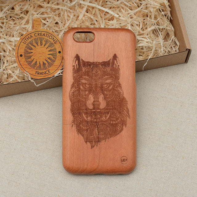 Psychedelic Style Animal Custom Design FOREST SPIRIT Natural Wood Phone Case