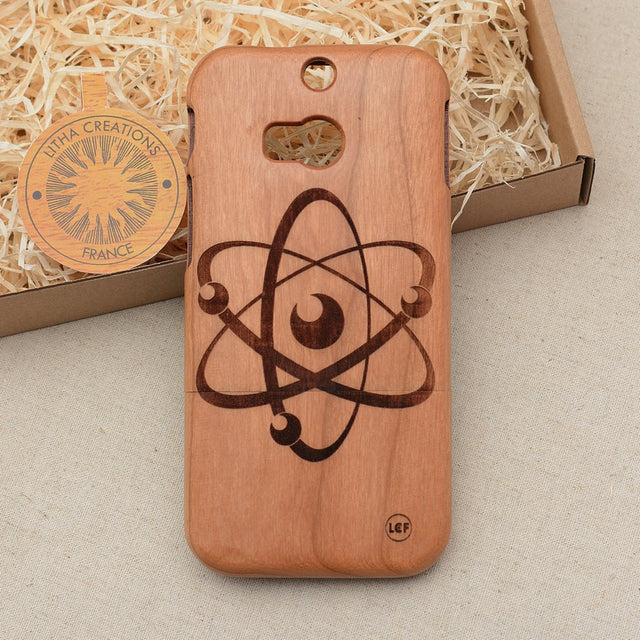 Science Custom Design ATOM Natural Wood Phone Case