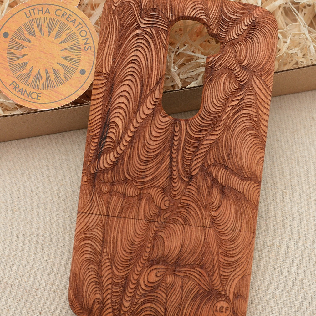 Psychedelic Custom Design TURBULENCE Natural Wood Phone Case
