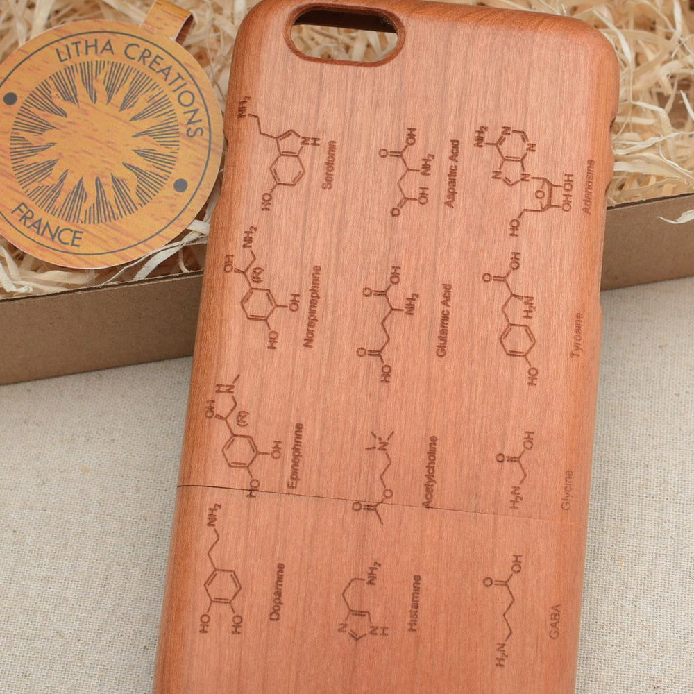 Science Custom Design NEUROTRANSMITERS Natural Wood Phone Case - litha-creations-france