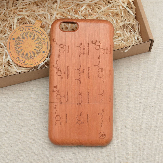 Science Custom Design NEUROTRANSMITERS Natural Wood Phone Case