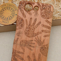Psychedelic Custom Design HEALERS HANDS Natural Wood Phone Case - litha-creations-france