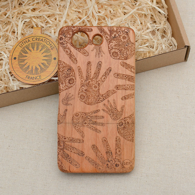 Psychedelic Custom Design HEALERS HANDS Natural Wood Phone Case