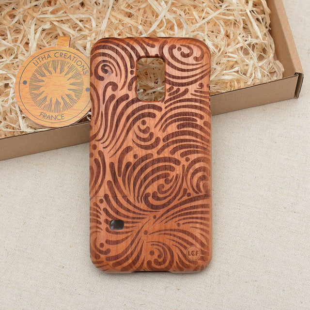 Psychedelic Custom Design BRUSH STROKES Natural Wood Phone Case