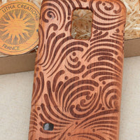 Psychedelic Custom Design BRUSH STROKES Natural Wood Phone Case - litha-creations-france