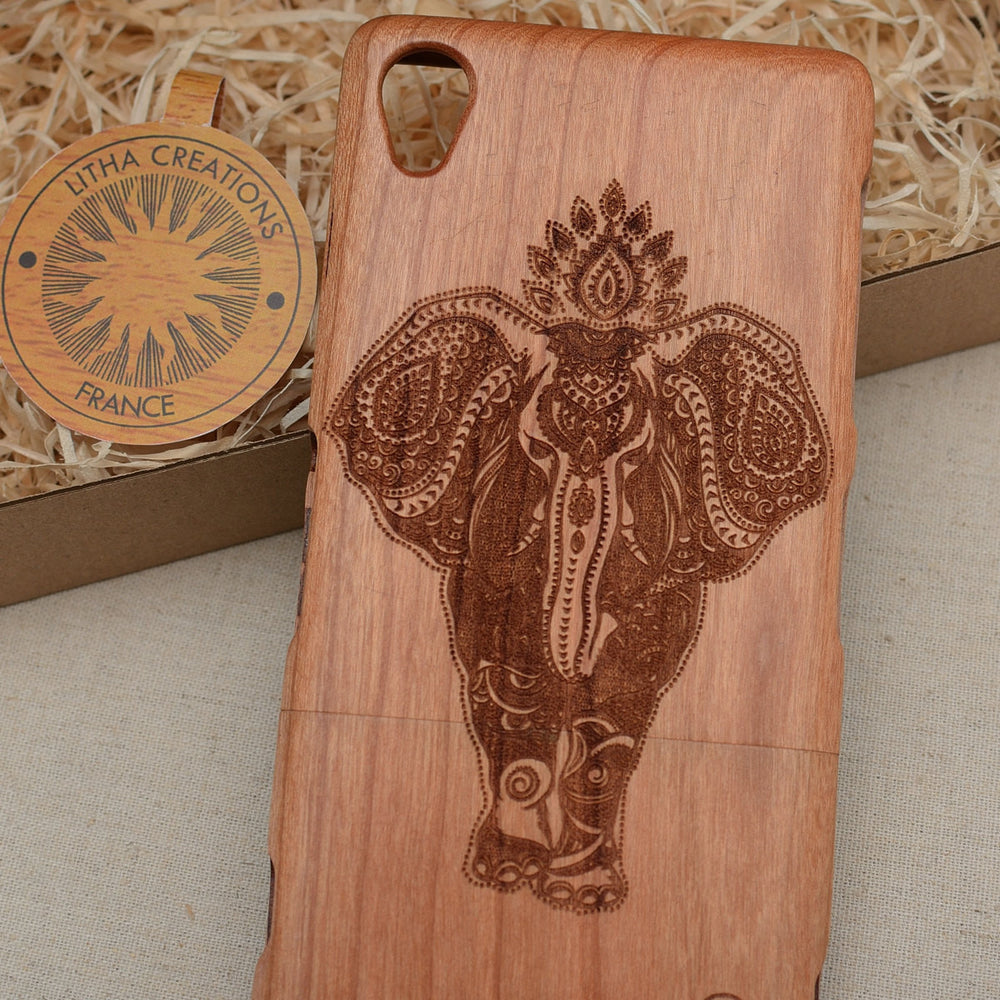 Psychedelic Style Animal Custom Design POWER OF INDIA Natural Wood Phone Case - litha-creations-france