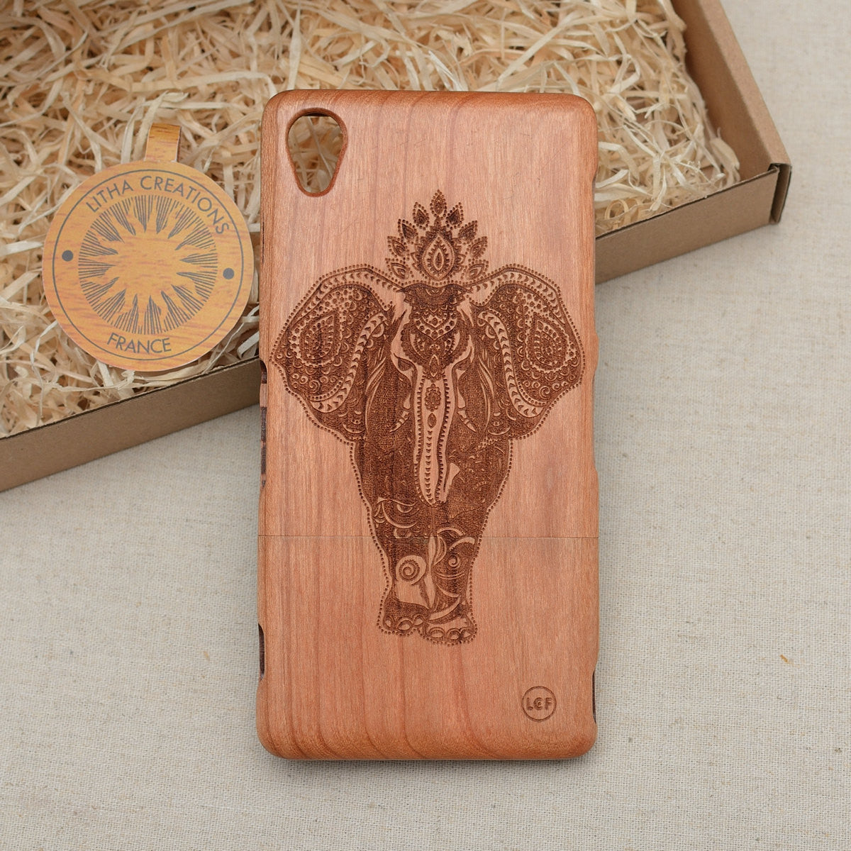 Psychedelic Style Animal Custom Design POWER OF INDIA Natural Wood Phone Case