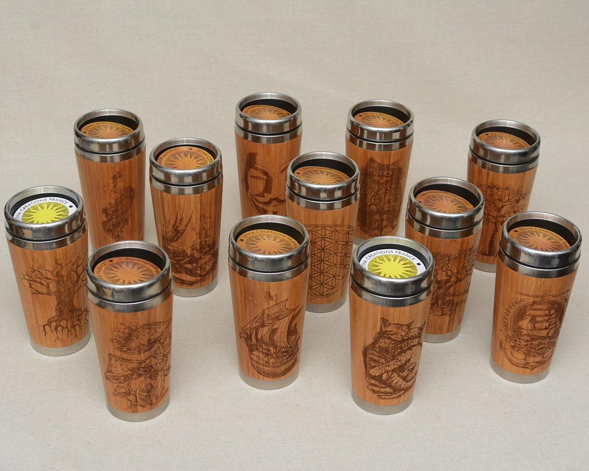 Personalized Engraved Natural Bamboo Tumbler Travel Mug ''Notes""