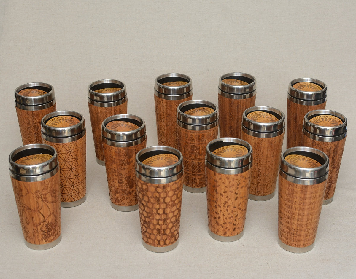COFFEE BEANS Engraved Wood Travel Mug Tumbler