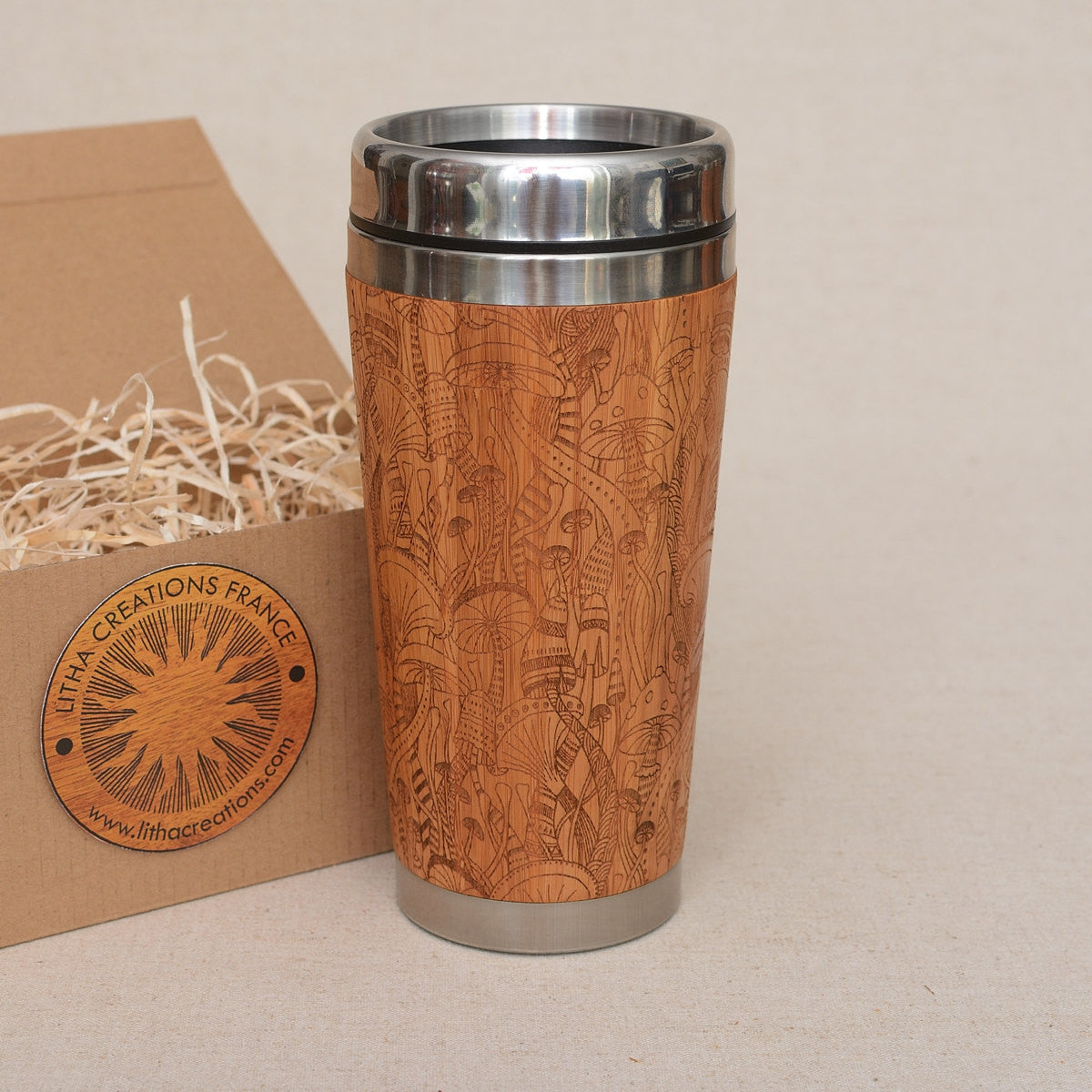DMT Engraved Wood Travel Mug Tumbler