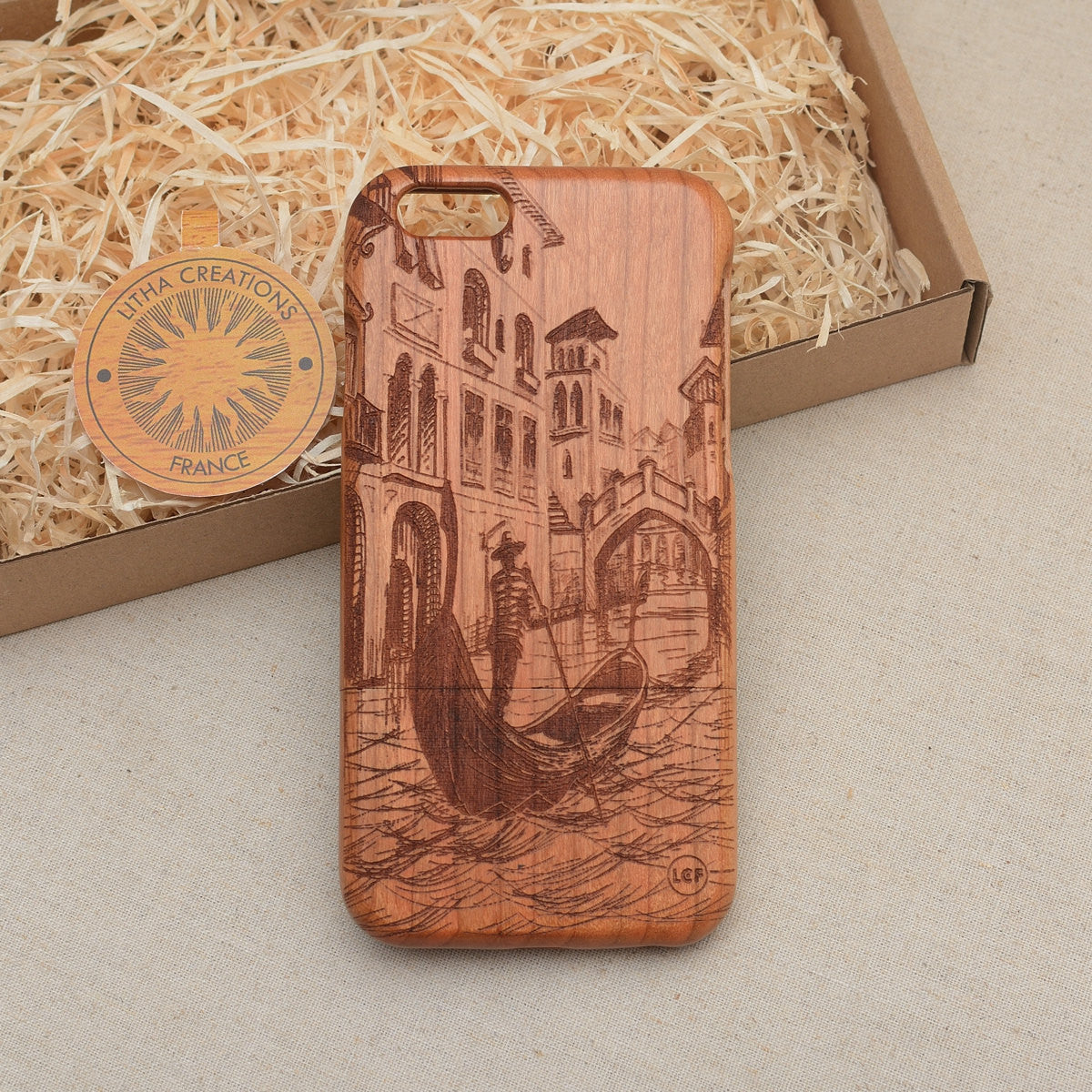 Vintage Style Custom Design ''Gondolier'' Natural Cherry Wood Phone Case