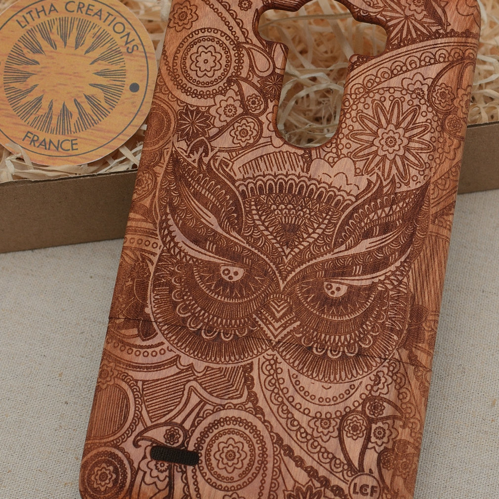 Psychedelic Style Animal Custom Design LUCID OWL Natural Wood Phone Case