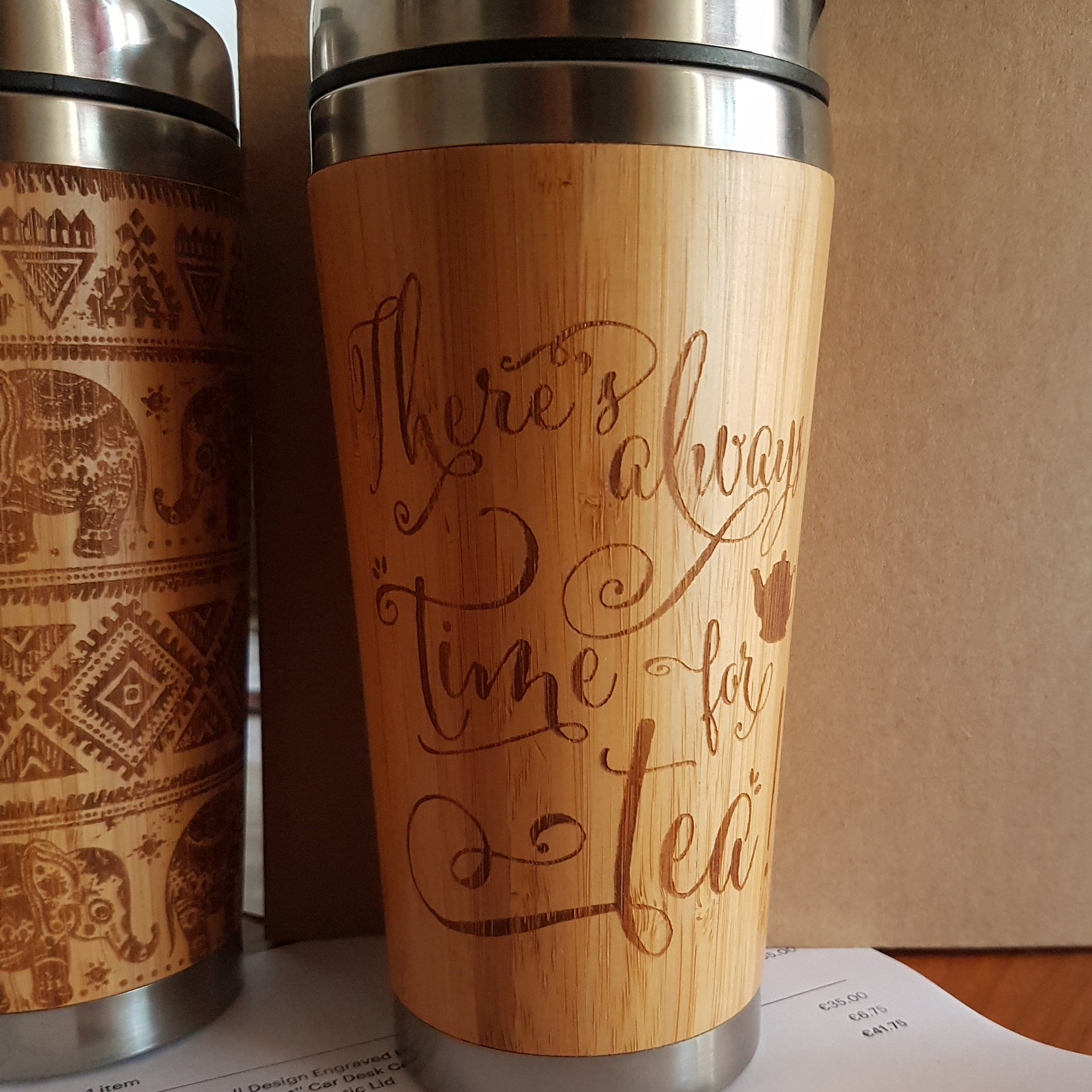 Both Sides YOUR IMAGE + TEXT Engraving Custom Engraved Wood Travel Mug Wooden Tumbler