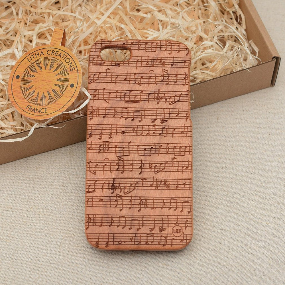 NOTES Wood Phone Case Art Custom Design - litha-creations-france