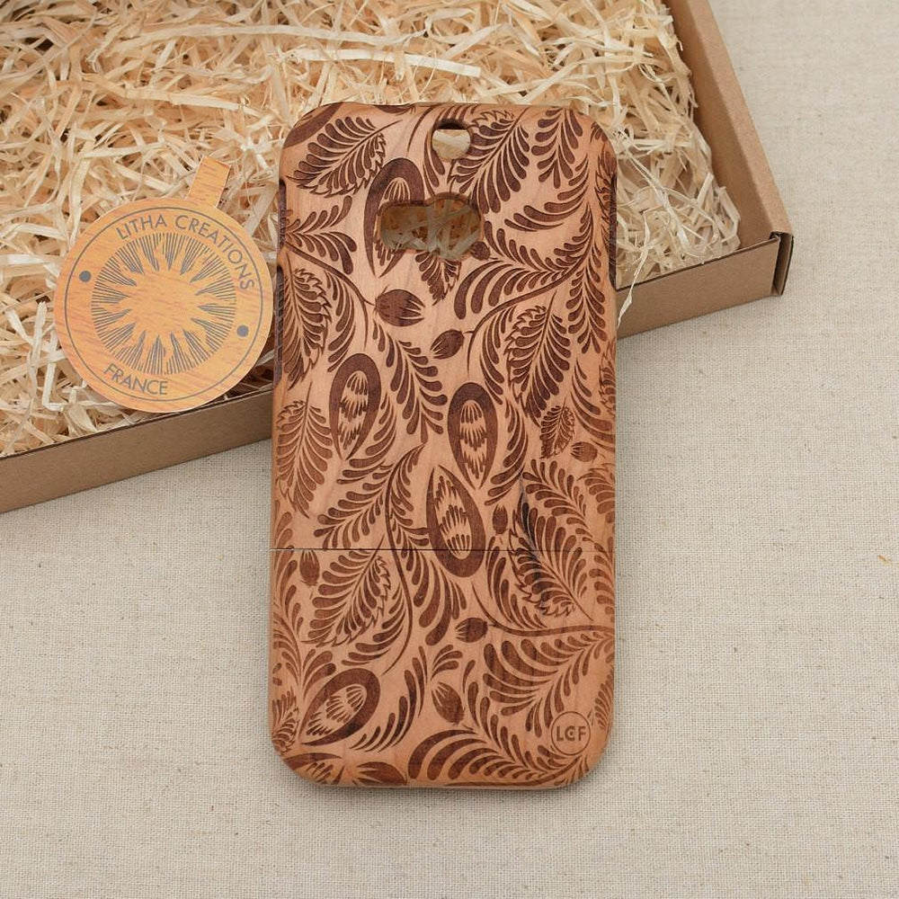 Abstract Floral LEAVES Wood Phone Case - litha-creations-france