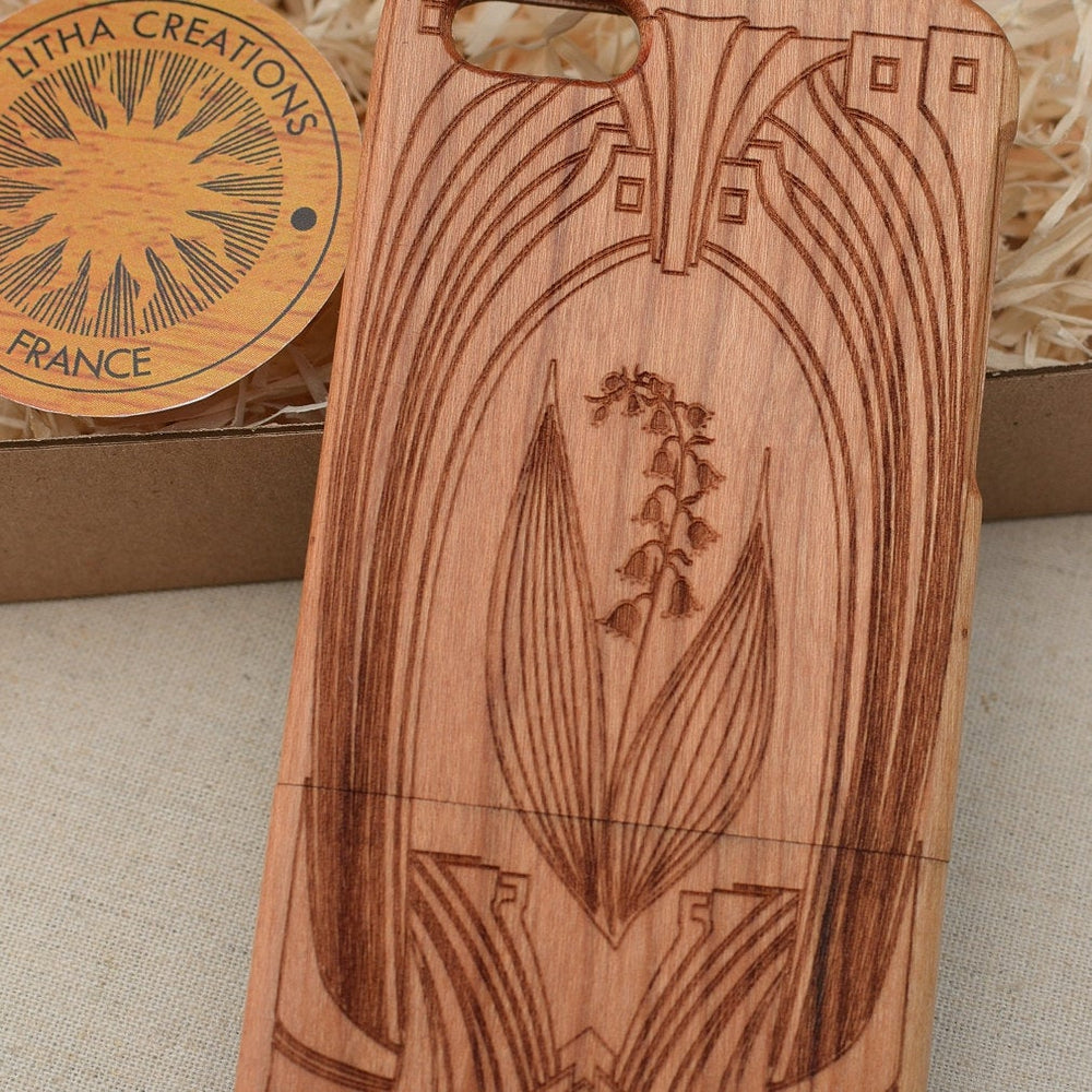 Art Deco LILY OF VALEY Wood Phone Case