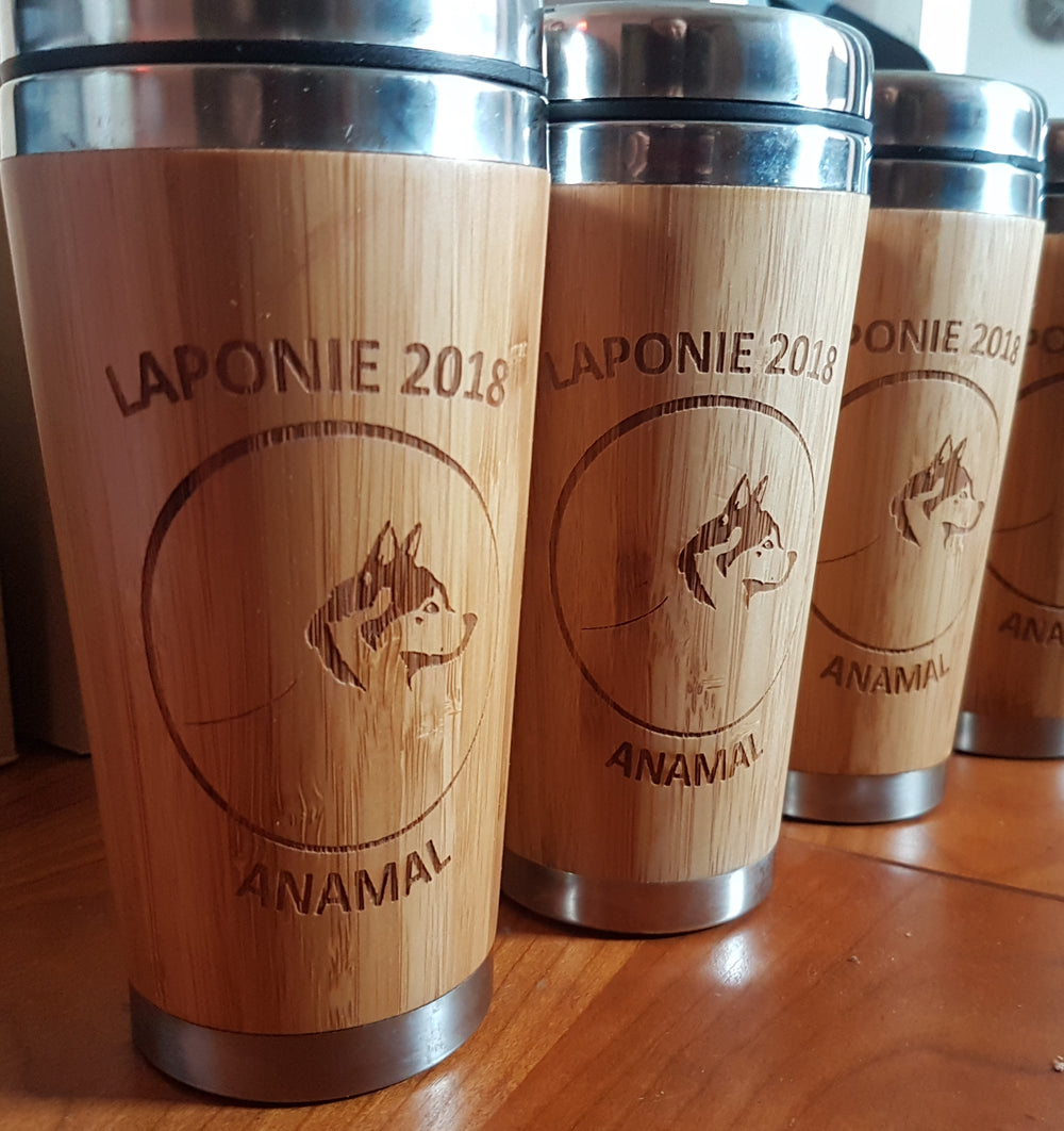 LOGO Custom Engraved Wood Travel Mug Wooden Tumbler - litha-creations-france