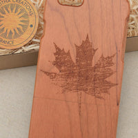 Abstract Floral MAPLE LEAVE Wood Phone Case - litha-creations-france
