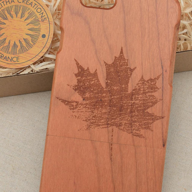 Abstract Floral MAPLE LEAVE Wood Phone Case