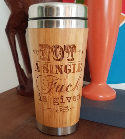 YOUR IMAGE + TEXT Custom Engraved Wood Travel Mug Wooden Tumbler - litha-creations-france