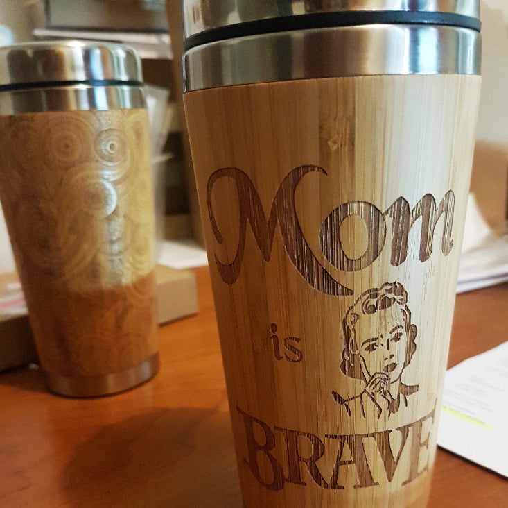 Both Sides YOUR IMAGE + TEXT Engraving Custom Engraved Wood Travel Mug Wooden Tumbler - litha-creations-france