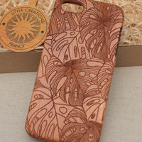 Abstract Floral MONSTERA LEAVES Wood Phone Case