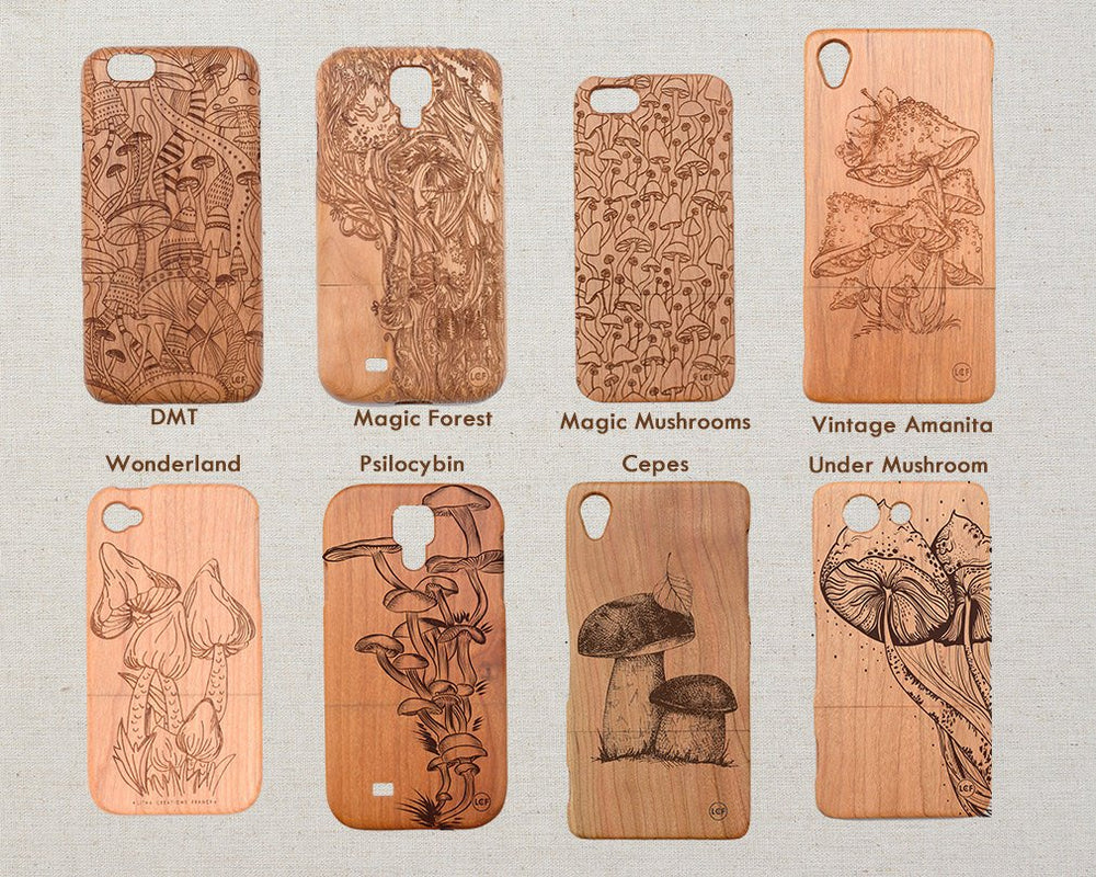 Mushroom / Nature UNDER MUSHROOM Wood Phone Case - litha-creations-france