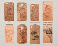 Mushroom / Nature MAGIC FOREST Wood Phone Case - litha-creations-france