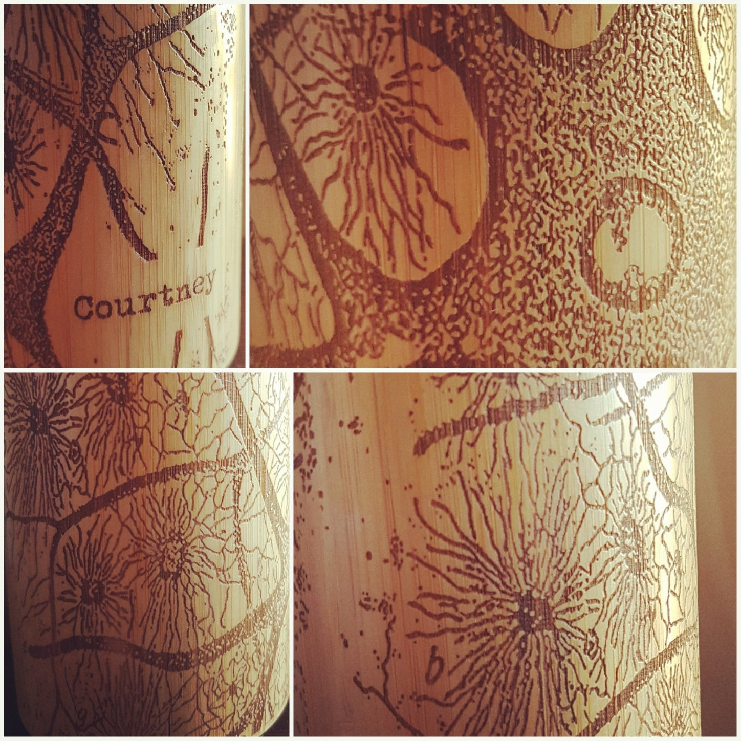 Your Image ALL AROUND the Full engraved Wood Thermos