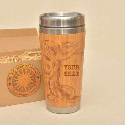 OCTOPUS Engraved Wood Travel Mug Tumbler - litha-creations-france
