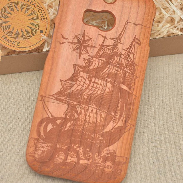 Antique Style OCTOPUS SHIP Wood Phone Case