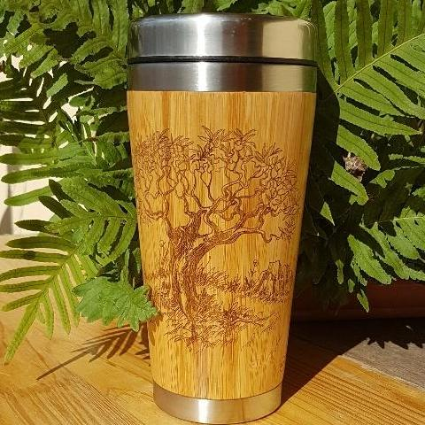 OLIVIER Engraved Wood Travel Mug Tumbler