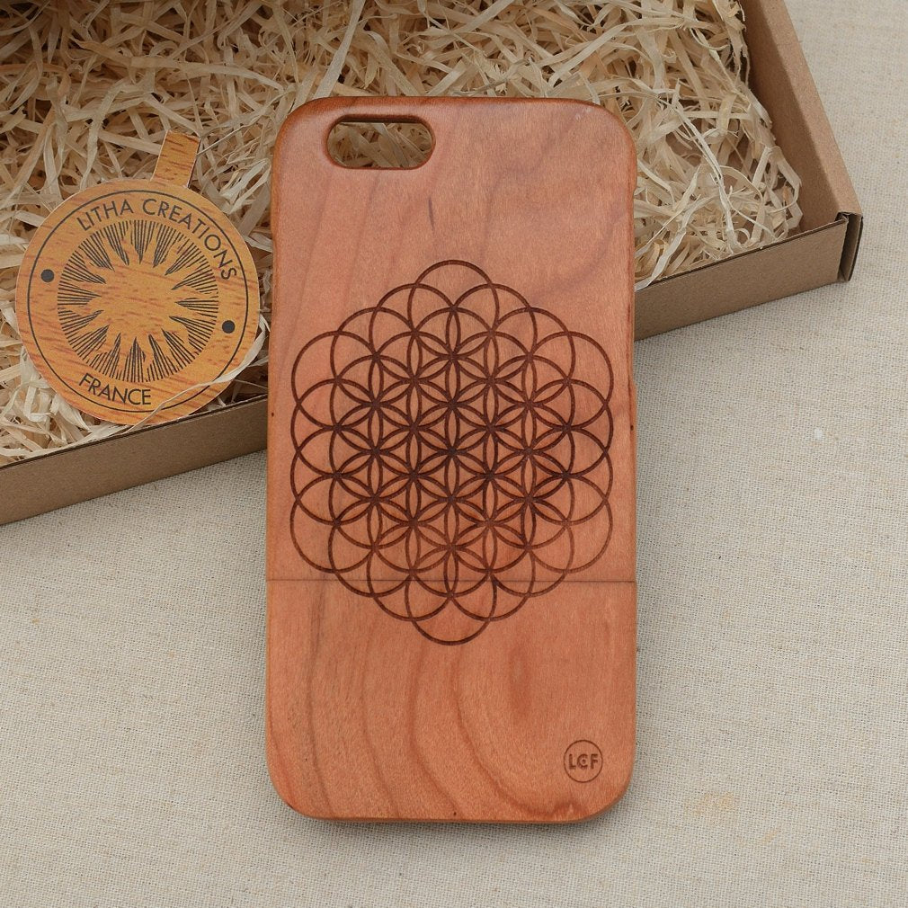 Sacred Geometric OPEN FLOWER OF LIFE Wood Phone Case