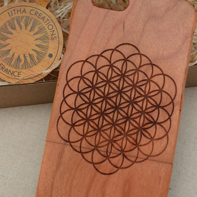 Sacred Geometric OPEN FLOWER OF LIFE Wood Phone Case - litha-creations-france
