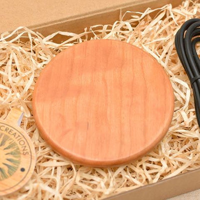 Clear Plain Wood Wireless Phone Charger 10W QI Charging Pad Custom Engraved - litha-creations-france