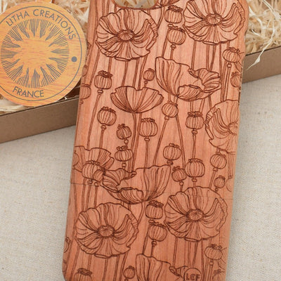Floral POPPY FIELD Wood Phone Case - litha-creations-france
