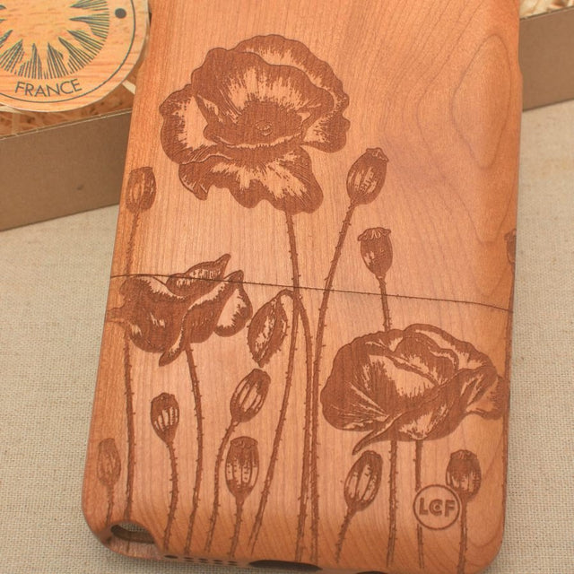 Floral POPPY ROW Wood Phone Case